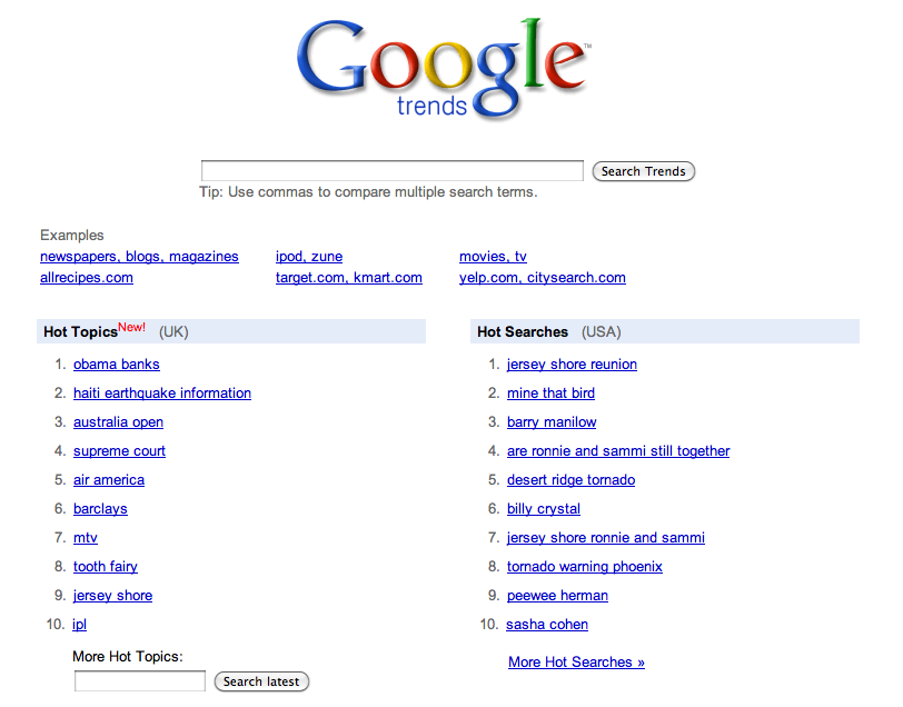 Google UK Trends