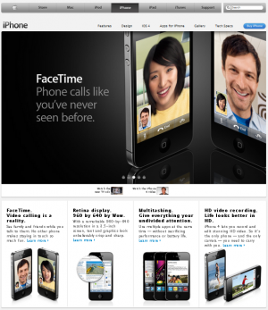 Standard Apple iPhone page with FaceTime ad
