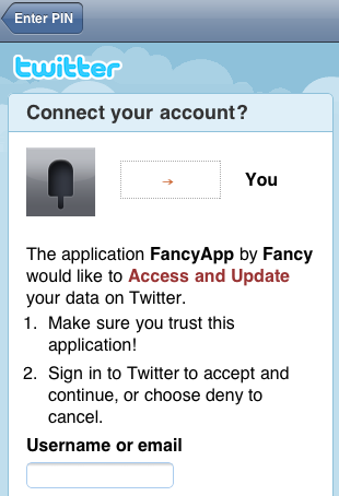 Fancy Twitter Login e1292041265301 Fancy launches fabulous iPhone app to curate your style anytime, anywhere