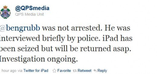 Twitter - QPS Media Unit- bengrubb was not arrested