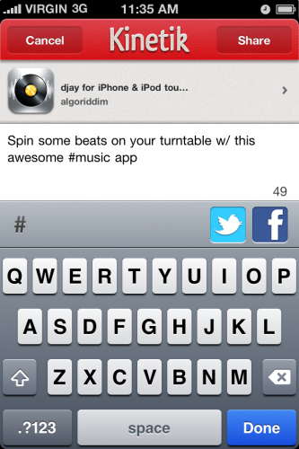 03 Share 333x500 Kinetik: An iPhone app that lets you find and share great iPhone apps