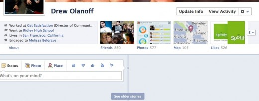 Drew Olanoff 1 2 520x203 Facebook Timeline: Hands on with the new Facebook Profile [Picture and Video Tour]