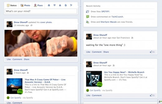 Drew Olanoff 2 520x335 Facebook Timeline: Hands on with the new Facebook Profile [Picture and Video Tour]