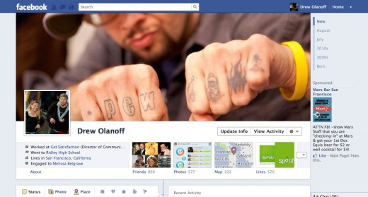 drewolanofftimeline 520x279 Facebook Timeline: Hands on with the new Facebook Profile [Picture and Video Tour]