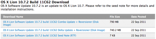 screen shot 2011 09 22 at 2 23 58 pm 520x131 Apple releases OS X 10.7.2 beta build 11C62, its third with iCloud bundled in