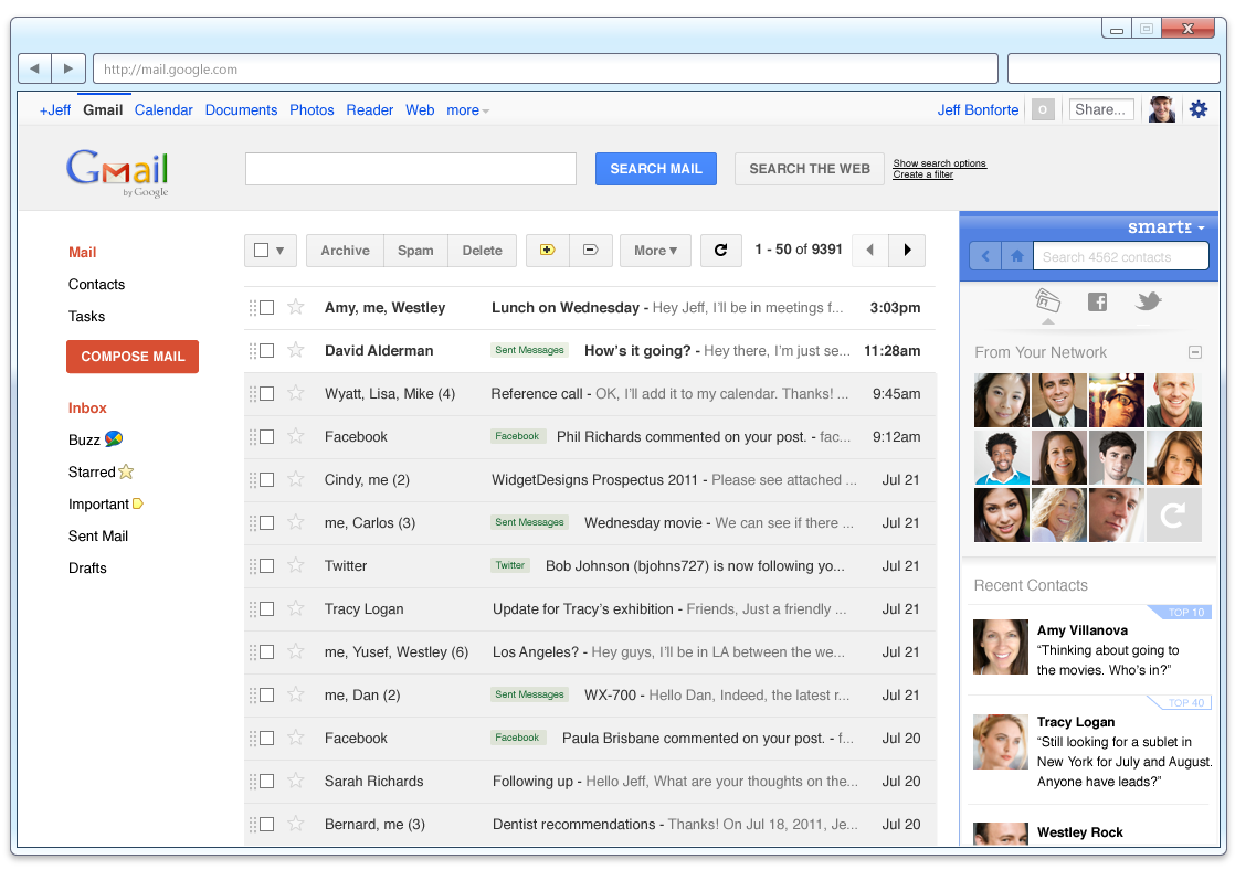 how to go to contacts in gmail