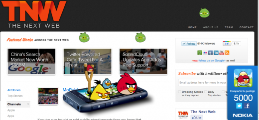 Angry Birds TNW 520x242 Play Angry Birds on any page with this add on