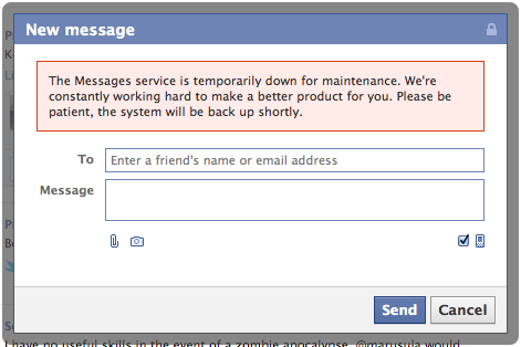 "Screen Shot 2011 10 17 at 10.22.25 AM Facebook Messages is ""Temporarily Down for Maintenance"""