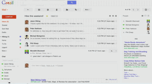 gmail new ui 1 520x288 Google to rollout a major facelift for Gmail