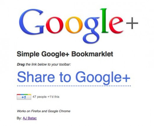 googleplusbookmarklet 520x427 Simple Google+ Bookmarklet lets you share anything into your stream