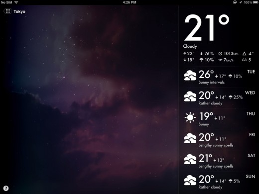 magical weather 3 520x390 Magical Weather brings stunningly beautiful weather forecasts to iPad