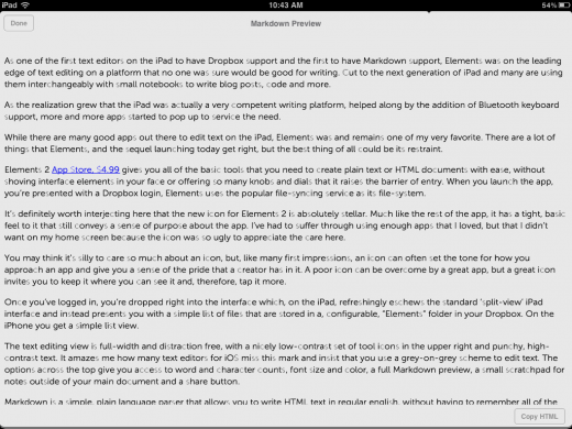 photo 131 520x390 Elements 2.1 adds iCloud syncing, Markdown to HTML conversion, is iOS 5 only