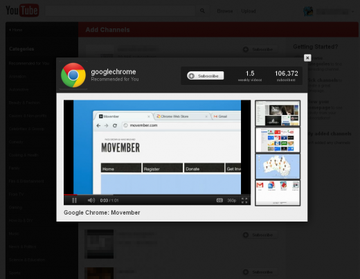 9 add channels 520x403 YouTube tests redesign highlighting Google+ videos, subscriptions & more