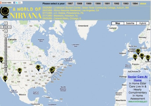 A World of Nirvana Nirvana the band Live Videos on Map 520x364 This site smells like A World Of Nirvana