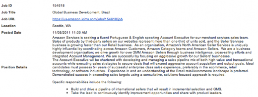 Amazon job offer 2 520x196 Amazon to Sell More Than Books in Brazil?