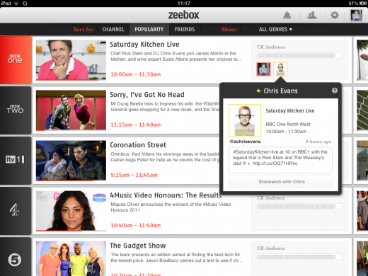 Photo 26 11 2011 11 17 52 520x390 Zeebox: The social TV app that gets it right?