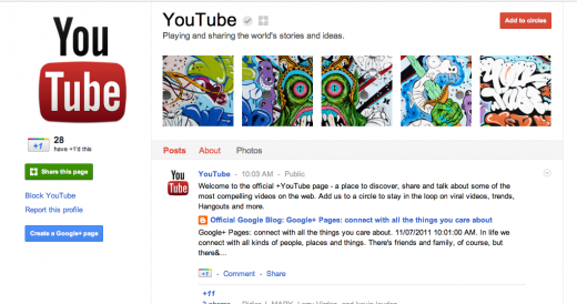 Screen Shot 2011 11 07 at 10.16.44 AM 520x274 Google drinks its own Kool Aid, launches +YouTube, +Google pages on Google+