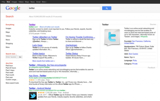 Screen Shot 2011 11 07 at 11.37.11 520x329 Google tests Sources, delivers background information for search results