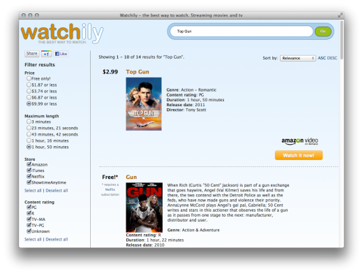 Screen Shot 2011 11 22 at 1.58.03 PM 520x392 Watchily makes finding streaming movies and TV shows incredibly easy