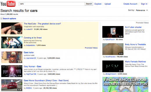 Search results for cars on Youtube1 520x318 5 challenges facing YouTube as a family destination