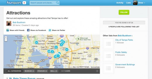 foursquare    Bob Buckhorn    Attractions 520x271 Tampa Mayor uses foursquare to help you tour his city