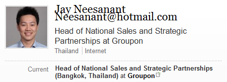 groupon thailand linkedin Groupons move to Thailand edges closer as its first hire there emerges