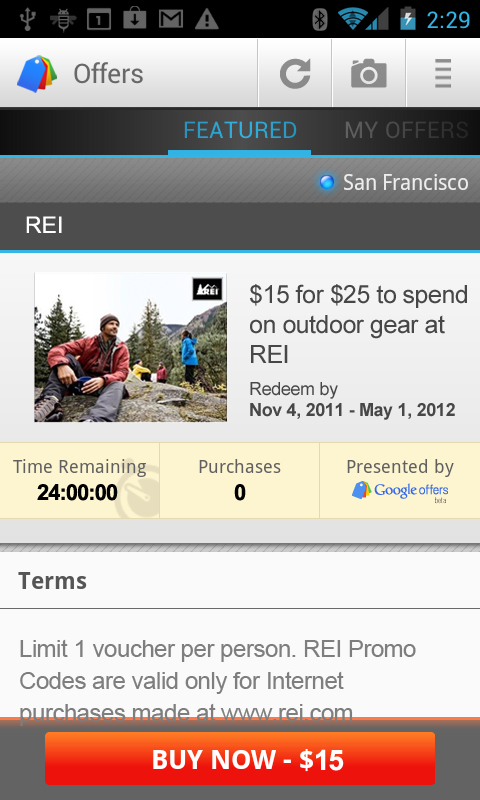 mobile REI 2011 11 02 Google launches Android app for its money saving Offers in the US
