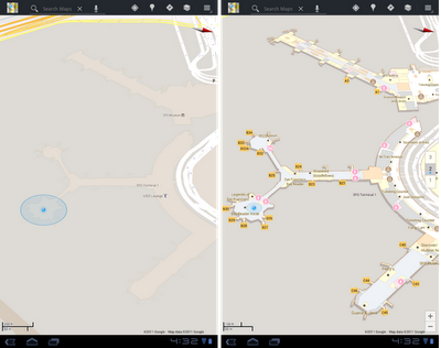 sfo before after Google Maps 6.0 arrives on Android, lets you map inside buildings
