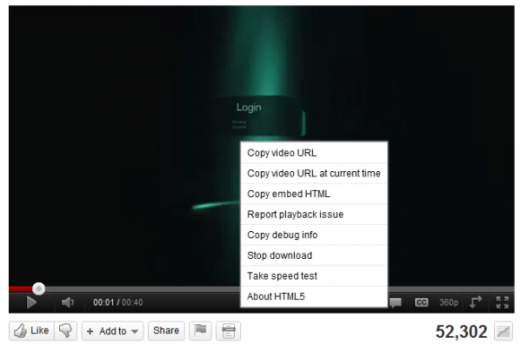 youtube html5 menu 520x344 YouTube's HTML5 player steadily gaining ground on Flash
