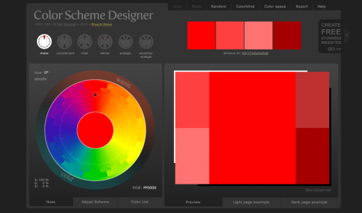 Color Scheme Designer 3 520x306 9 places to get inspiration for your websites color palette