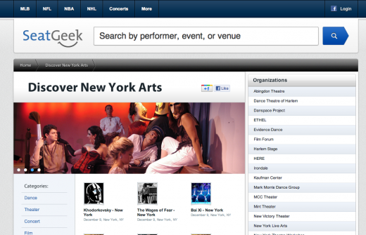 Discover New York Arts SeatGeek 520x335 SeatGeek and Bloomberg to support 30 treasured arts groups in NYC