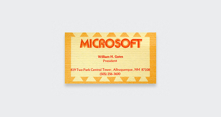 Microsoft Bill Gates Business Card Digital Business Cards? Dont hold your breath...