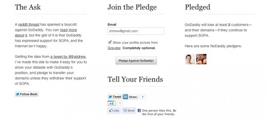 NoDaddy 520x232 NoDaddy lets you pledge to boycott Go Daddy for its stance on SOPA
