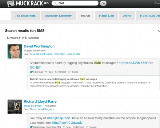 Screen shot 2011 12 01 at 11.18.52 AM 520x418 The all new Muck Rack tracks what journalists are talking about on Twitter