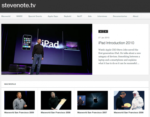 Stevenote 520x406 Find Apple keynotes on Stevenote.tv, a tribute to Steve Jobs
