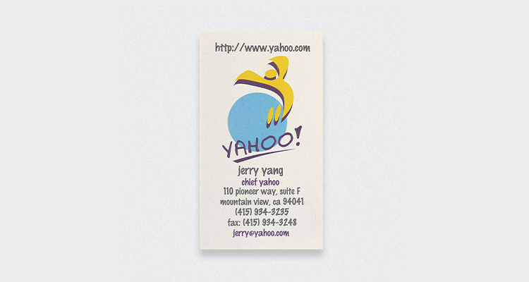 Yahoo Jerry Yang Business Card Digital Business Cards? Dont hold your breath...