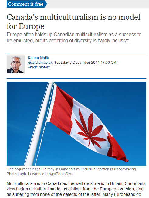 eCENo1 Oops! The Guardian posts a cannabis leaf instead of the Canadian flag