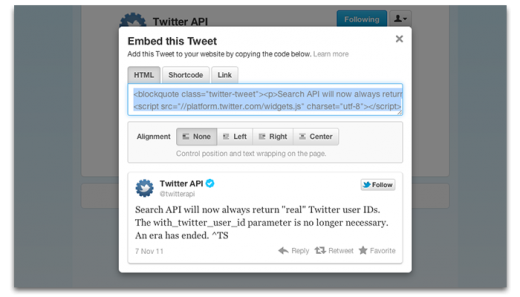 embed8 520x297 Twitter just made it a whole lot easier to embed tweets anywhere on the Web