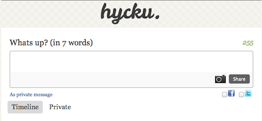 hycku Think 140 characters is short? Try 7 words with nanoblogging service Hycku