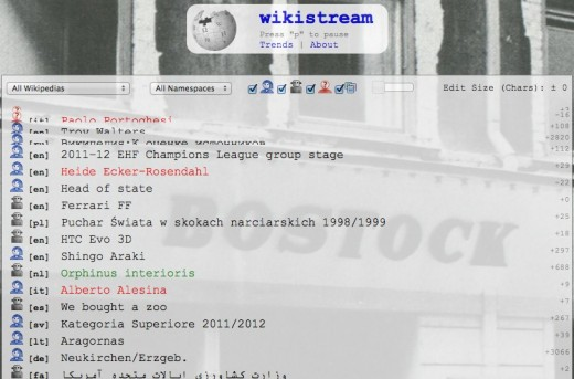 wikistream 520x343 Not impressed with Wikipedia? Watch all of its activity in real time
