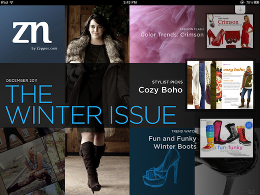 zappos1 Zappos ZN   Mobile e commerce meets a lifestyle magazine on the iPad