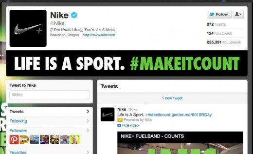 1 Nike nike on Twitter 520x316 Want a fancy Twitter brand page for your company? Thatll cost you $25,000