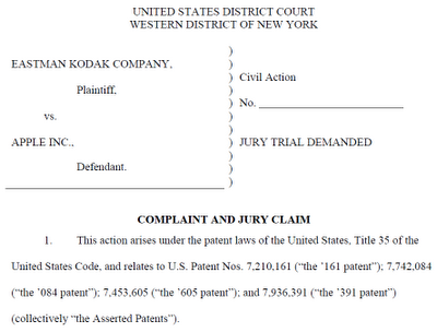 12 01 10 Kodak v Apple WDNY Kodak is suing Apple and HTC in the US for patent infringement [Update]