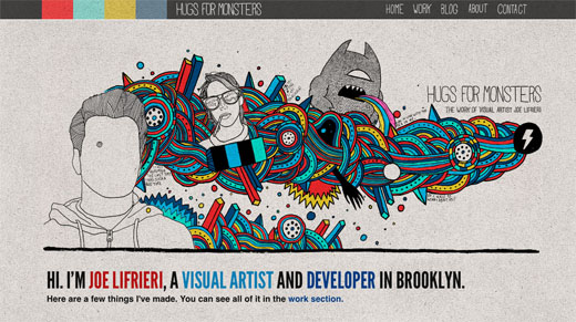 Hugs For Monsters copy 16 Beautiful examples of texture in web design