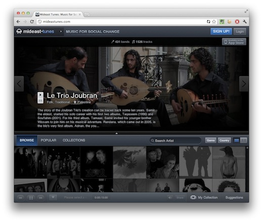 MidEastTunes Use the slick web and iOS app, MidEast Tunes, to discover indie bands in the Middle East