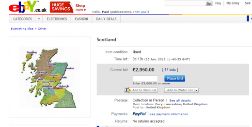 Scot 520x262 This prankster is auctioning Scotland on eBay