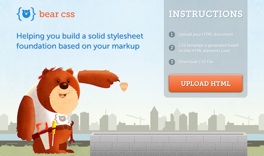 Screen Shot 2012 01 31 at 10.52.36 AM Bear CSS creates the perfect stylesheet template based on your HTML