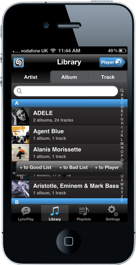 Shazam Player View music by artist albumtrack 520x1011 Shazam moves beyond tagging to launch Shazam Player, its unique new music app