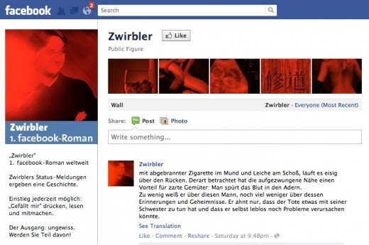 Zwirblen1 520x345 Austrias first Facebook novel will be broadcast in universities