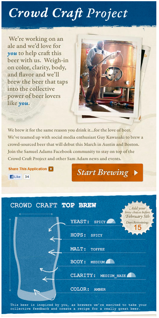 crowdbeer Crowdsourcing a beer recipe? Thats whats on tap with Guy Kawasaki and Samuel Adams